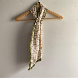 Coach cream tan green silk logo print thin scarf